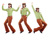 70s green vintage dancer dance poses isolated on white