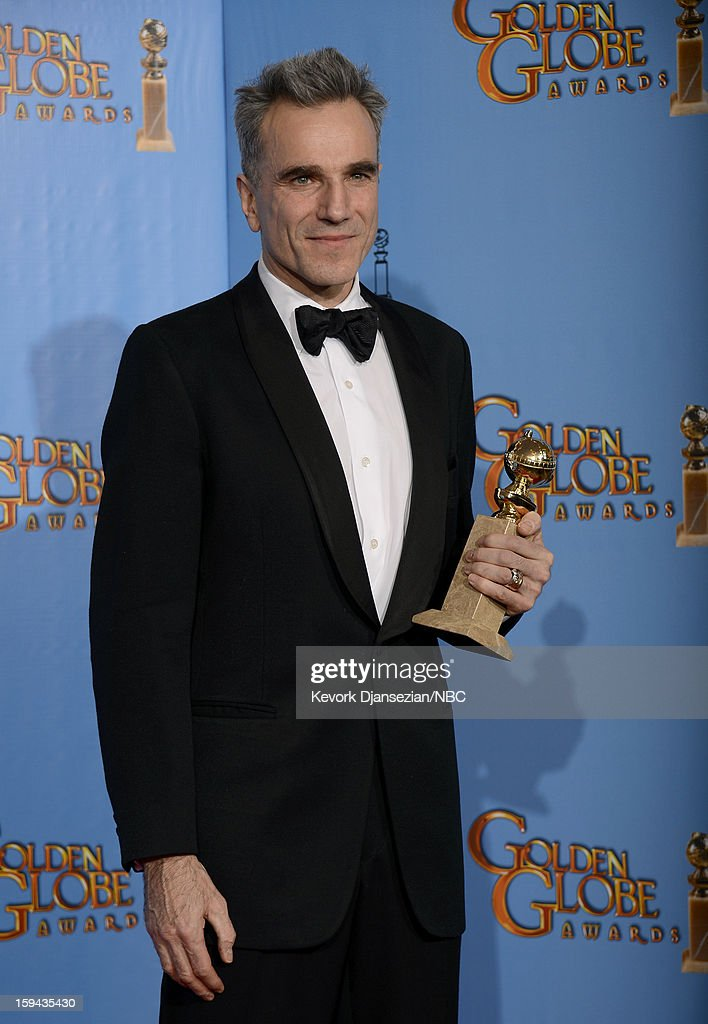 70th ANNUAL GOLDEN GLOBE AWARDS -- Pictured: Actor <a gi-track='captionPersonalityLinkClicked' href=/galleries/search?phrase=Daniel+Day-Lewis&family=editorial&specificpeople=211475 ng-click='$event.stopPropagation()'>Daniel Day-Lewis</a>, winner Best Actor in a Motion Picture, Drama for 'Lincoln', poses in the press room at the 70th Annual Golden Globe Awards held at the Beverly Hilton Hotel on January 13, 2013.