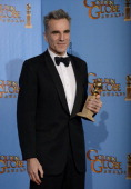 70th ANNUAL GOLDEN GLOBE AWARDS Pictured Actor Daniel DayLewis winner Best Actor in a Motion Picture Drama for 'Lincoln' poses in the press room at...