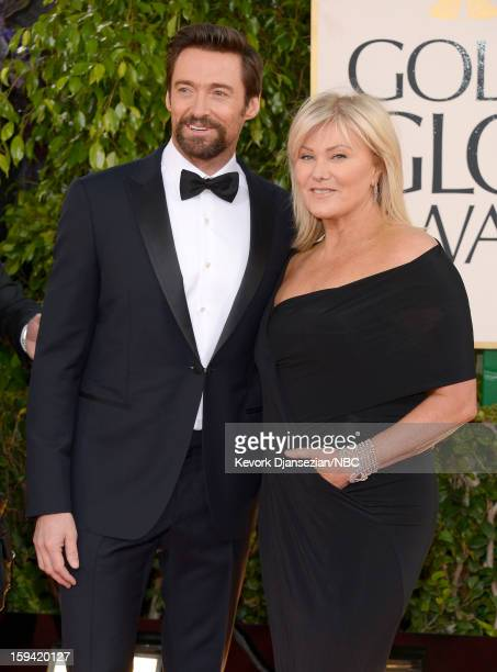 70th ANNUAL GOLDEN GLOBE AWARDS Pictured Actor Hugh Jackman and his wife DeborraLee Furness arrive to the 70th Annual Golden Globe Awards held at the...