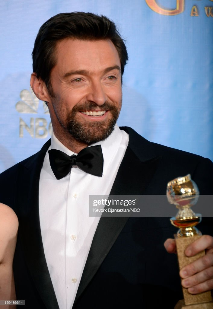 70th ANNUAL GOLDEN GLOBE AWARDS -- Pictured: Actor Hugh Jackman, winner Best Actor in a Motion Picture, Comedy or Musical for 'Les Miserables', poses in the press room at the 70th Annual Golden Globe Awards held at the Beverly Hilton Hotel on January 13, 2013.