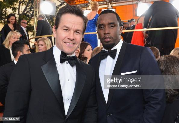 70th ANNUAL GOLDEN GLOBE AWARDS Pictured Actor Mark Wahlberg and Sean Combs arrives to the 70th Annual Golden Globe Awards held at the Beverly Hilton...