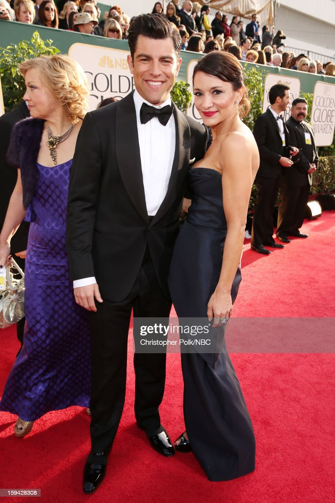 70th ANNUAL GOLDEN GLOBE AWARDS -- Pictured: Actor Max Greenfield and Tess Sanchez arrive to the 70th Annual Golden Globe Awards held at the Beverly Hilton Hotel on January 13, 2013.