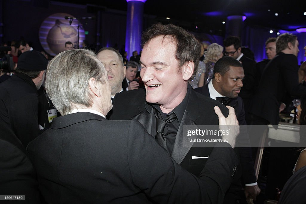 70th ANNUAL GOLDEN GLOBE AWARDS -- Pictured: (L-R) Actor Steve Buscemi and director/writer Quentin Tarantino during NBC Universal's Golden Globes Post-Party Sponsored by Fiat and Hilton held at the Beverly Hilton Hotel on January 13, 2013 --