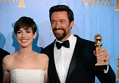 70th ANNUAL GOLDEN GLOBE AWARDS Pictured Actors Anne Hathaway and Hugh Jackman of 'Les Miserables' winner of Best Motion Picture Comedy or Musical...