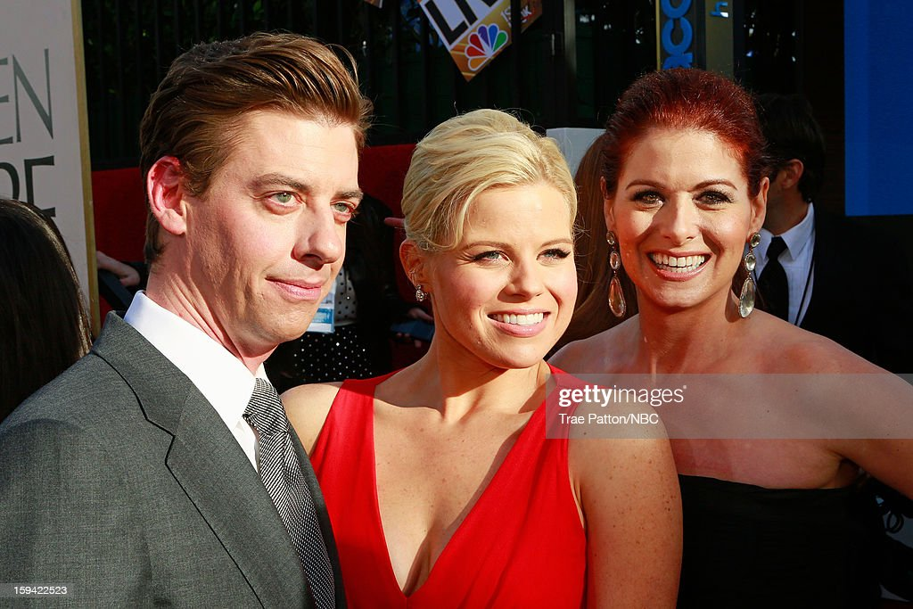 70th ANNUAL GOLDEN GLOBE AWARDS -- Pictured: (L-R) Actors Christian Borle, Megan Hilty and Debra Messing arrive to the 70th Annual Golden Globe Awards held at the Beverly Hilton Hotel on January 13, 2013.