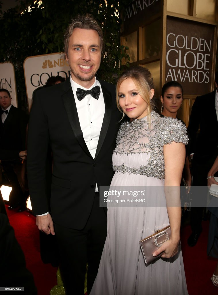 70th ANNUAL GOLDEN GLOBE AWARDS -- Pictured: (L-R) Actors Dax Shepard and Kristen Bell arrive to the 70th Annual Golden Globe Awards held at the Beverly Hilton Hotel on January 13, 2013.
