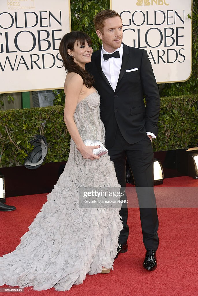 70th ANNUAL GOLDEN GLOBE AWARDS -- Pictured: (L-R) Actors Helen McCrory and Damian Lewis arrive to the 70th Annual Golden Globe Awards held at the Beverly Hilton Hotel on January 13, 2013.