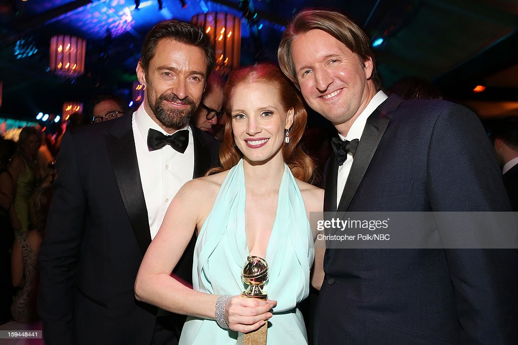 70th ANNUAL GOLDEN GLOBE AWARDS -- Pictured: (L-R) Actors <a gi-track='captionPersonalityLinkClicked' href=/galleries/search?phrase=Hugh+Jackman&family=editorial&specificpeople=202499 ng-click='$event.stopPropagation()'>Hugh Jackman</a> and <a gi-track='captionPersonalityLinkClicked' href=/galleries/search?phrase=Jessica+Chastain&family=editorial&specificpeople=653192 ng-click='$event.stopPropagation()'>Jessica Chastain</a> and director <a gi-track='captionPersonalityLinkClicked' href=/galleries/search?phrase=Tom+Hooper&family=editorial&specificpeople=681836 ng-click='$event.stopPropagation()'>Tom Hooper</a> pose during NBC Universal's Golden Globes Post-Party Sponsored by Fiat and Hilton held at the Beverly Hilton Hotel on January 13, 2013