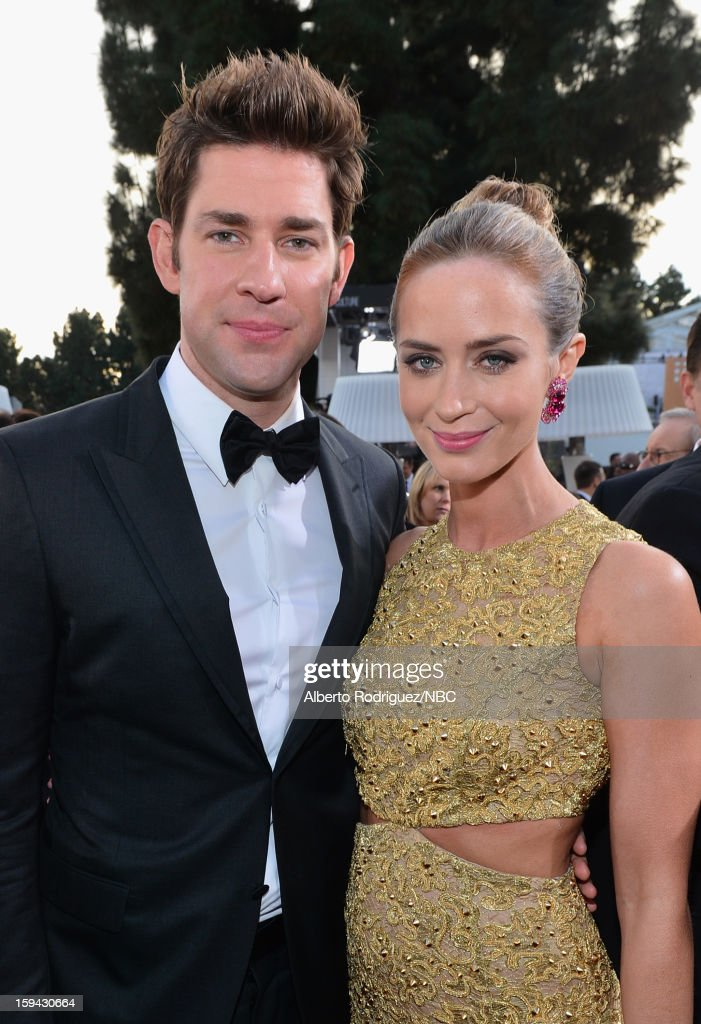 70th ANNUAL GOLDEN GLOBE AWARDS -- Pictured: Actors John Krasinski and Emily Blunt arrive to the 70th Annual Golden Globe Awards held at the Beverly Hilton Hotel on January 13, 2013.
