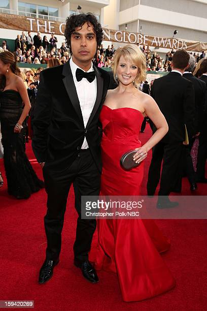 70th ANNUAL GOLDEN GLOBE AWARDS Pictured Actors Kunal Nayyar and Melissa Rauch arrive to the 70th Annual Golden Globe Awards held at the Beverly...