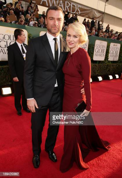 70th ANNUAL GOLDEN GLOBE AWARDS Pictured Actors Liev Schreiber and Naomi Watts arrive to the 70th Annual Golden Globe Awards held at the Beverly...