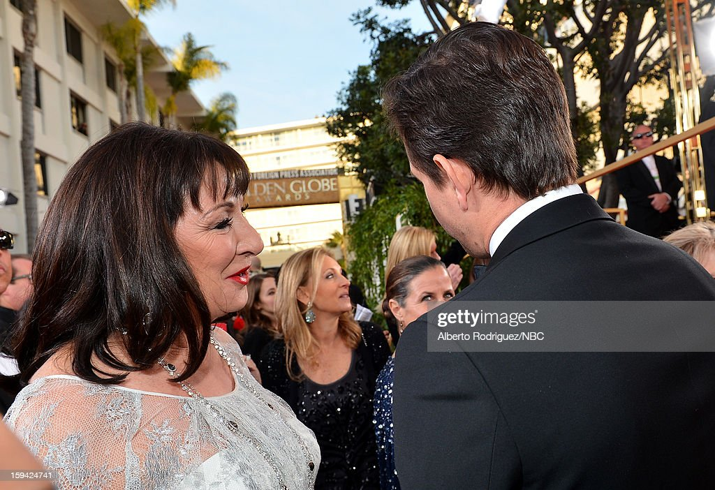 70th ANNUAL GOLDEN GLOBE AWARDS -- Pictured: Actress Angelica Huston arrives to the 70th Annual Golden Globe Awards held at the Beverly Hilton Hotel on January 13, 2013.