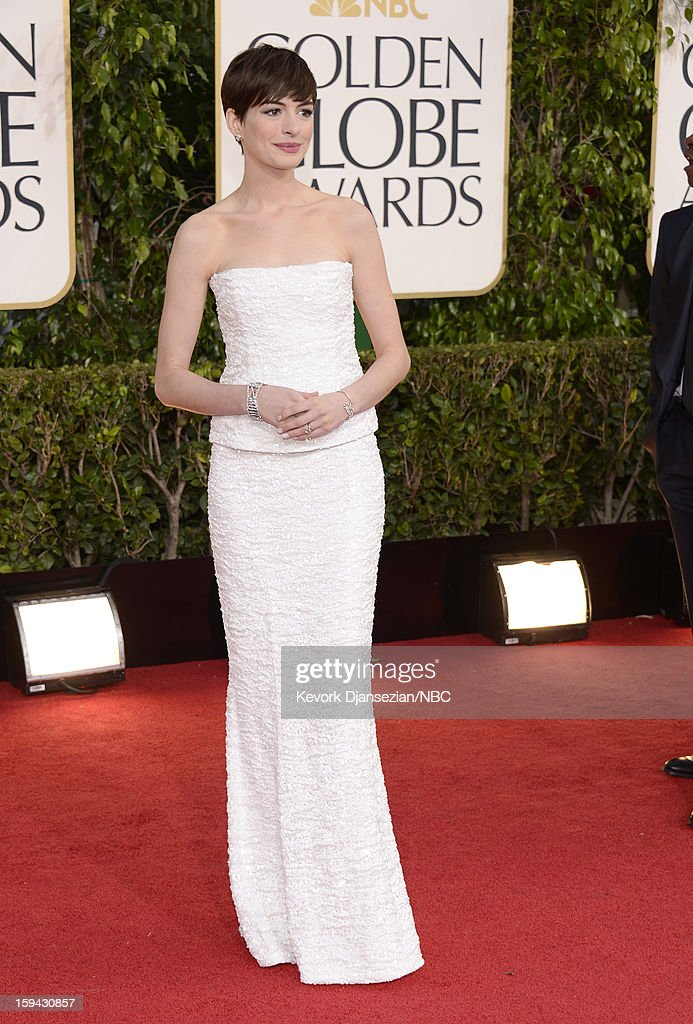 70th ANNUAL GOLDEN GLOBE AWARDS -- Pictured: Actress <a gi-track='captionPersonalityLinkClicked' href=/galleries/search?phrase=Anne+Hathaway+-+Schauspielerin&family=editorial&specificpeople=11647173 ng-click='$event.stopPropagation()'>Anne Hathaway</a> arrives to the 70th Annual Golden Globe Awards held at the Beverly Hilton Hotel on January 13, 2013.