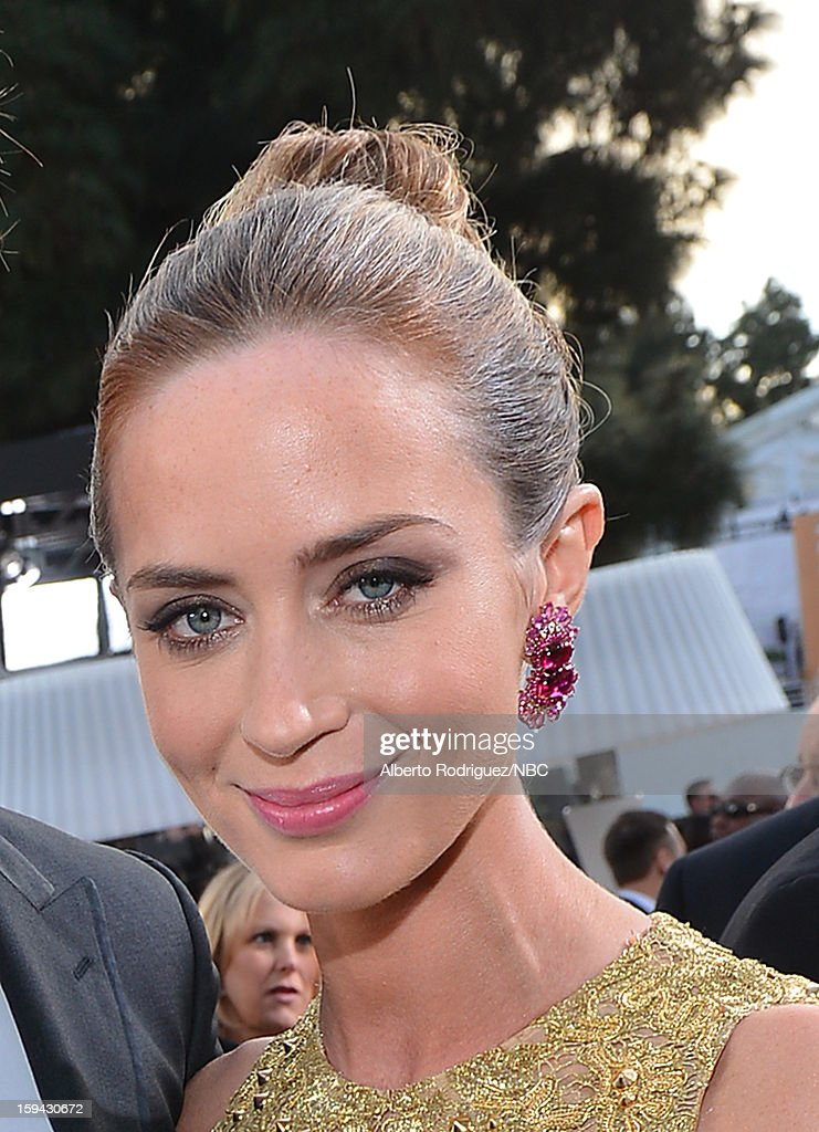 70th ANNUAL GOLDEN GLOBE AWARDS -- Pictured: Actress Emily Blunt arrives to the 70th Annual Golden Globe Awards held at the Beverly Hilton Hotel on January 13, 2013.