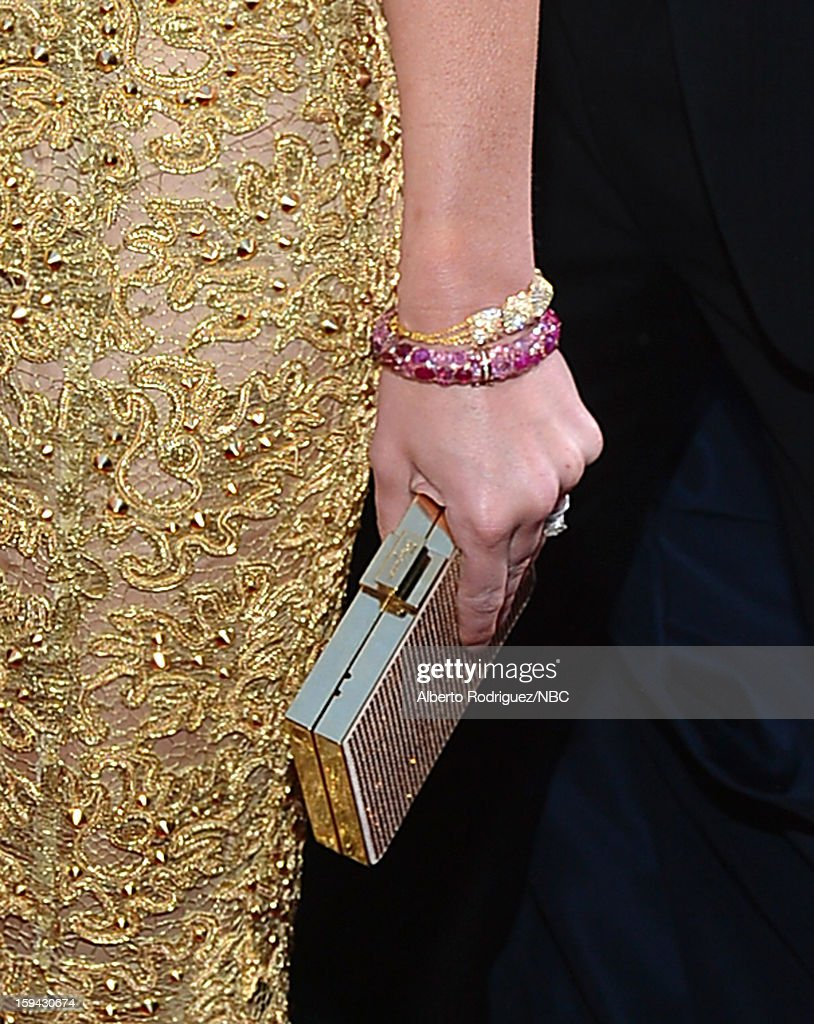 70th ANNUAL GOLDEN GLOBE AWARDS -- Pictured: Actress Emily Blunt (jewelry detail) arrives to the 70th Annual Golden Globe Awards held at the Beverly Hilton Hotel on January 13, 2013.