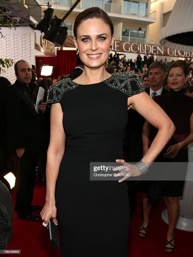 70th ANNUAL GOLDEN GLOBE AWARDS -- Pictured: Actress Emily Deschanel arrives to the 70th Annual Golden Globe Awards held at the Beverly Hilton Hotel on January 13, 2013.