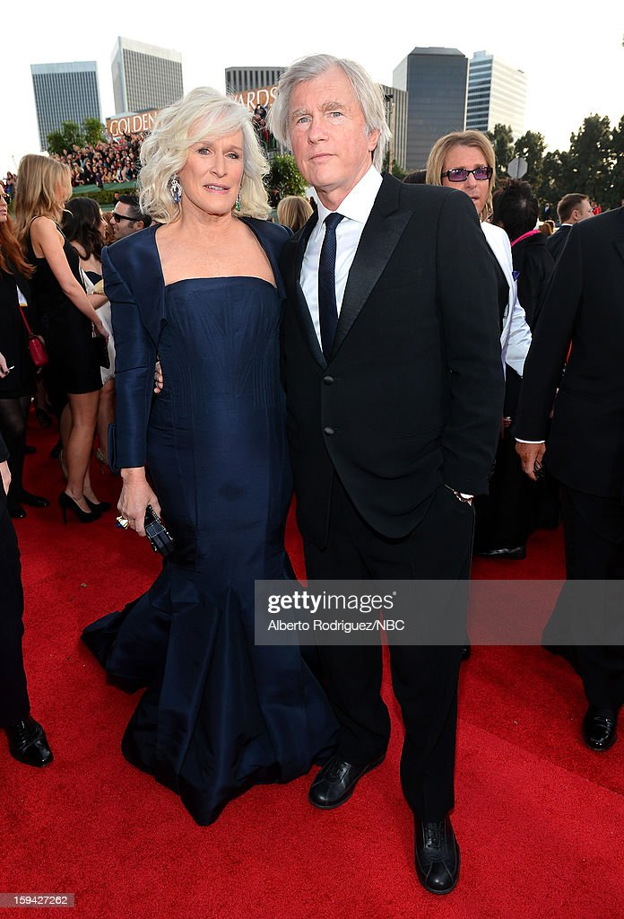 70th ANNUAL GOLDEN GLOBE AWARDS -- Pictured: Actress Glenn Close and David Shaw arrive to the 70th Annual Golden Globe Awards held at the Beverly Hilton Hotel on January 13, 2013.