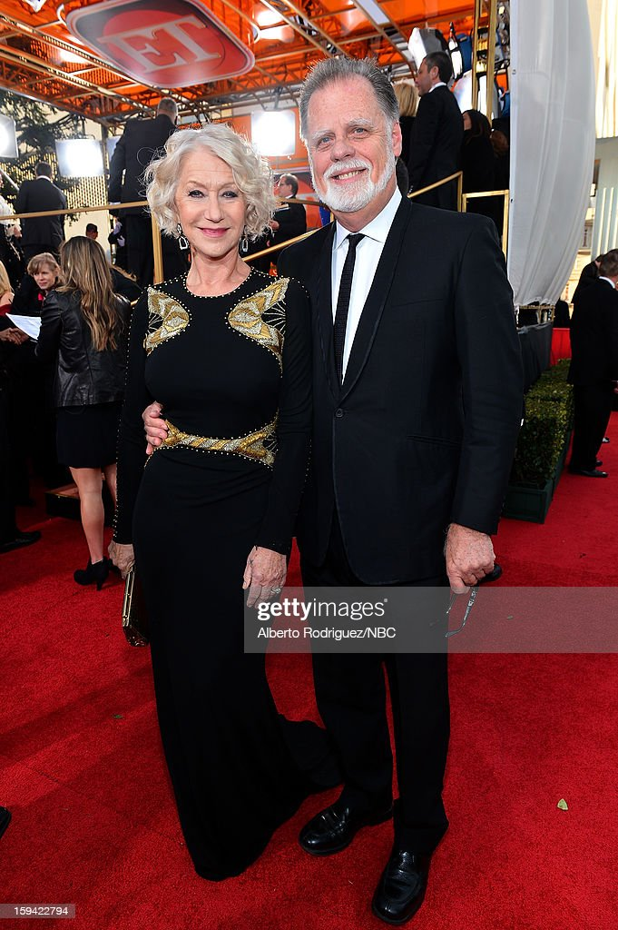 70th ANNUAL GOLDEN GLOBE AWARDS Pictured Actress Helen Mirren and director Taylor Hackford arrive to the 70th Annual Golden Globe Awards held at the...