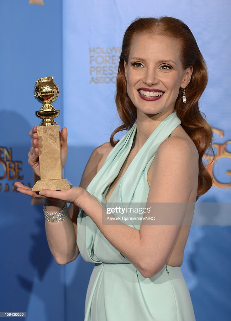 70th ANNUAL GOLDEN GLOBE AWARDS -- Pictured: Actress Jessica Chastain, winner Best Actress in a Motion Picture, Drama for 'Zero Dark Thirty', poses in the press room at the 70th Annual Golden Globe Awards held at the Beverly Hilton Hotel on January 13, 2013.