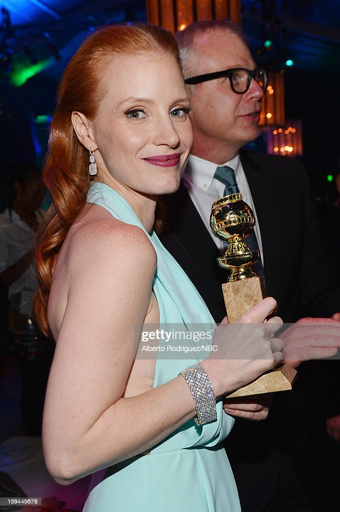 70th ANNUAL GOLDEN GLOBE AWARDS -- Pictured: Actress Jessica Chastain poses during NBC Universal's Golden Globes Post-Party Sponsored by Fiat and Hilton held at the Beverly Hilton Hotel on January 13, 2013
