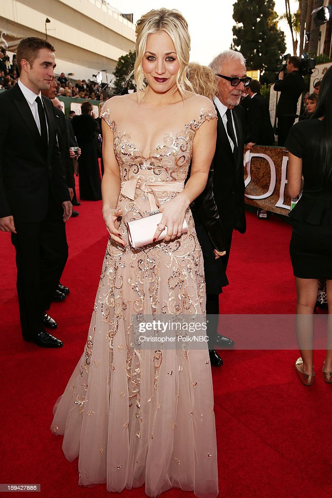 70th ANNUAL GOLDEN GLOBE AWARDS -- Pictured: Actress Kaley Cuoco arrives to the 70th Annual Golden Globe Awards held at the Beverly Hilton Hotel on January 13, 2013.