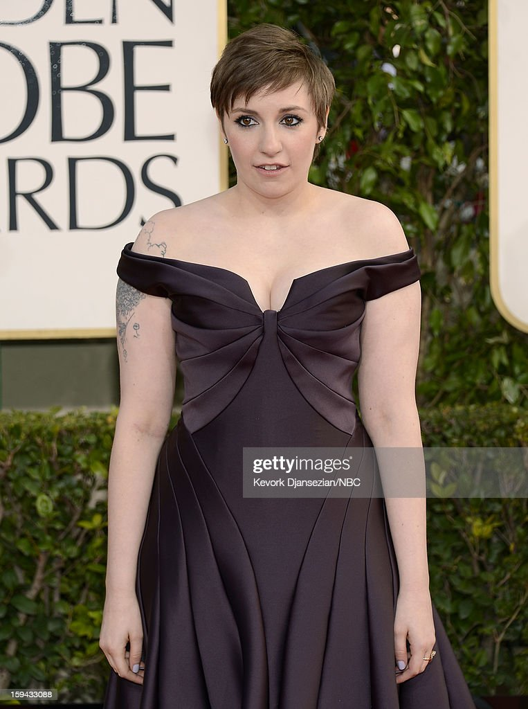 70th ANNUAL GOLDEN GLOBE AWARDS -- Pictured: Actress <a gi-track='captionPersonalityLinkClicked' href=/galleries/search?phrase=Lena+Dunham&family=editorial&specificpeople=5836535 ng-click='$event.stopPropagation()'>Lena Dunham</a> arrives to the 70th Annual Golden Globe Awards held at the Beverly Hilton Hotel on January 13, 2013.