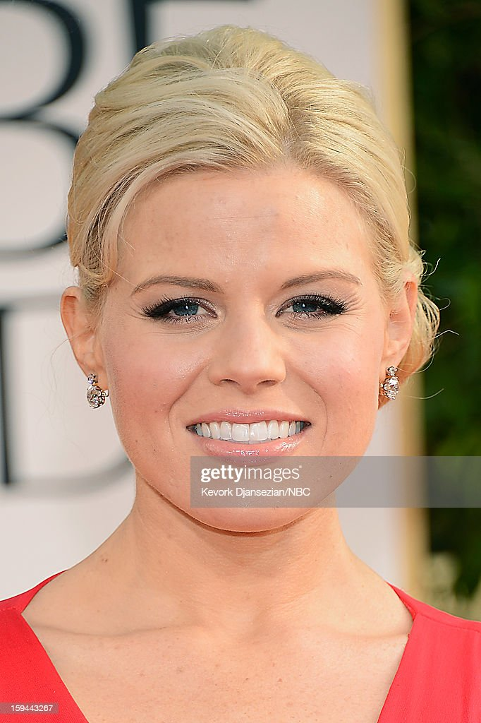 70th ANNUAL GOLDEN GLOBE AWARDS -- Pictured: Actress Megan Hilty arrives to the 70th Annual Golden Globe Awards held at the Beverly Hilton Hotel on January 13, 2013.