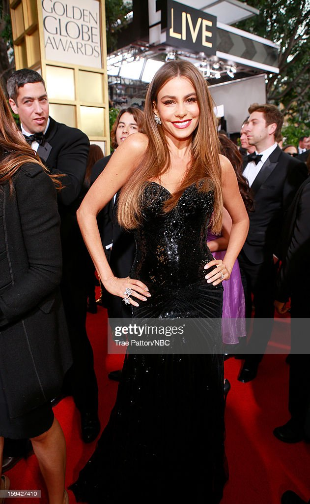 70th ANNUAL GOLDEN GLOBE AWARDS -- Pictured: actress Sofía Vergara arrives to the 70th Annual Golden Globe Awards held at the Beverly Hilton Hotel on January 13, 2013.