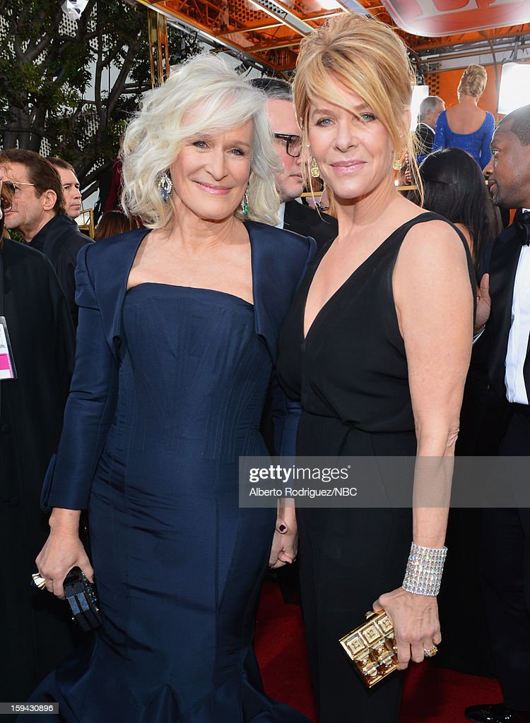 70th ANNUAL GOLDEN GLOBE AWARDS -- Pictured: Actresses Glenn Close and Kate Capshaw arrive to the 70th Annual Golden Globe Awards held at the Beverly Hilton Hotel on January 13, 2013.