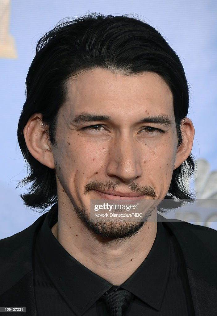 70th ANNUAL GOLDEN GLOBE AWARDS -- Pictured: Adam Driver in the press room at the 70th Annual Golden Globe Awards held at the Beverly Hilton Hotel on January 13, 2013.