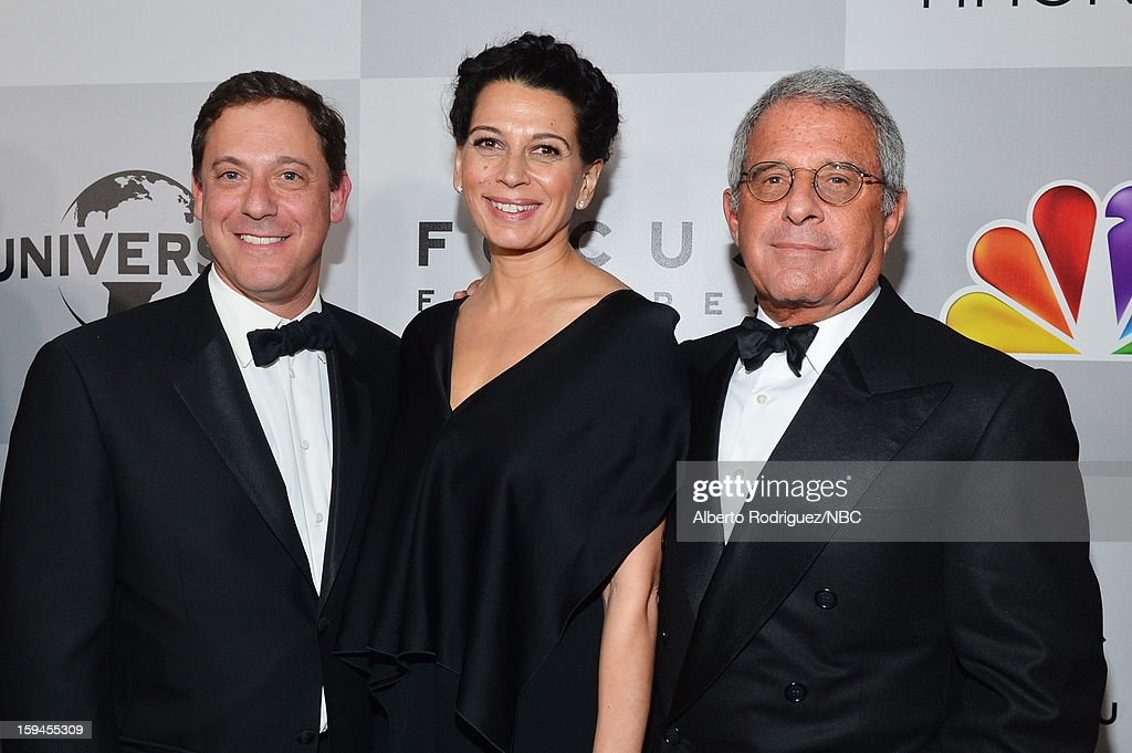 70th ANNUAL GOLDEN GLOBE AWARDS -- Pictured: (L-R) <a gi-track='captionPersonalityLinkClicked' href=/galleries/search?phrase=Adam+Fogelson&family=editorial&specificpeople=834470 ng-click='$event.stopPropagation()'>Adam Fogelson</a>, Chairman, Universal Pictures, Donna Langley, Co-Chairman, Universal Studios and <a gi-track='captionPersonalityLinkClicked' href=/galleries/search?phrase=Ron+Meyer&family=editorial&specificpeople=213476 ng-click='$event.stopPropagation()'>Ron Meyer</a>, President, Chief Operating Officer, Universal Studios pose during NBC Universal's Golden Globes Post-Party Sponsored by Fiat and Hilton held at the Beverly Hilton Hotel on January 13, 2013