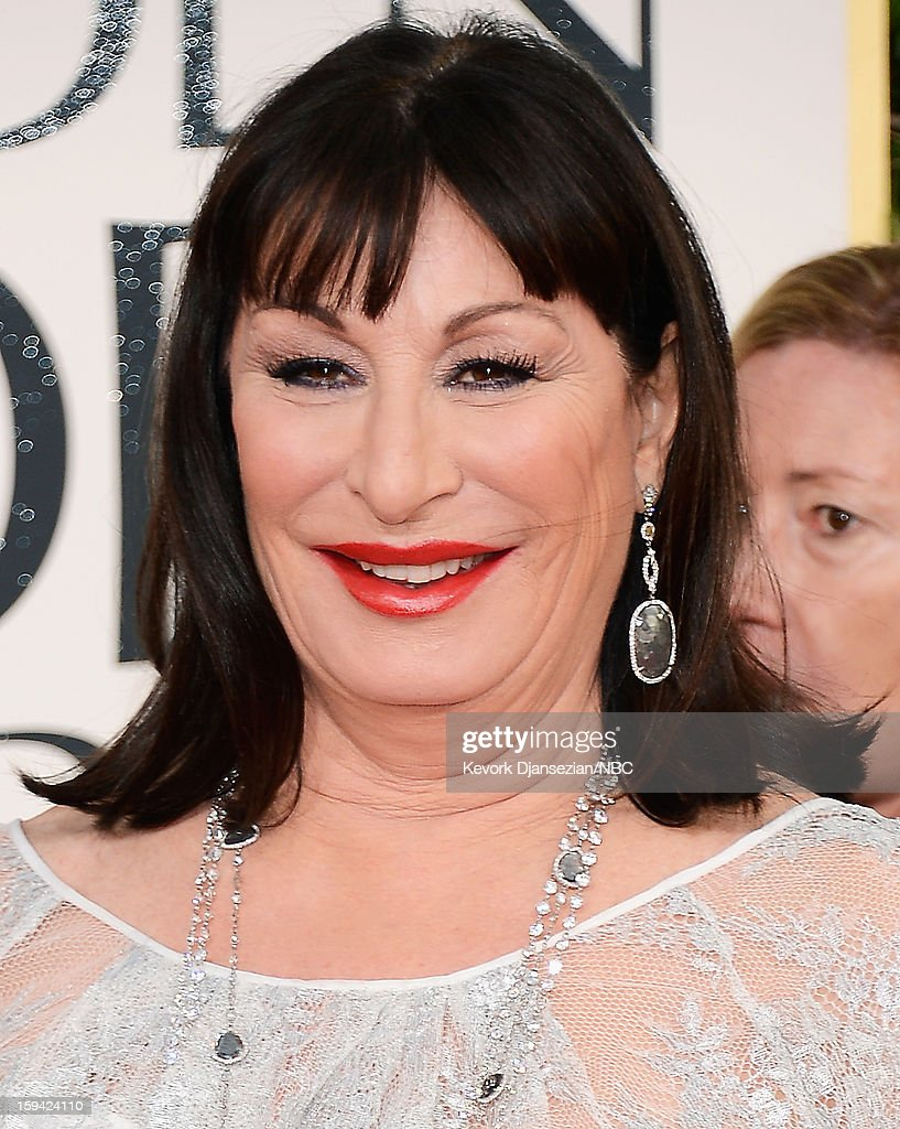 70th ANNUAL GOLDEN GLOBE AWARDS -- Pictured: Anjelica Huston arrives to the 70th Annual Golden Globe Awards held at the Beverly Hilton Hotel on January 13, 2013.