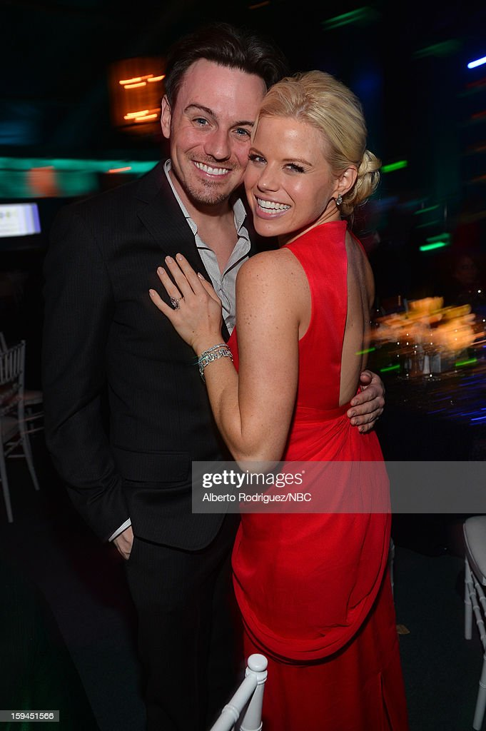 70th ANNUAL GOLDEN GLOBE AWARDS -- Pictured: (L-R) Brian Gallagher and Megan Hilty during NBC Universal's Golden Globes Post-Party Sponsored by Fiat and Hilton held at the Beverly Hilton Hotel on January 13, 2013