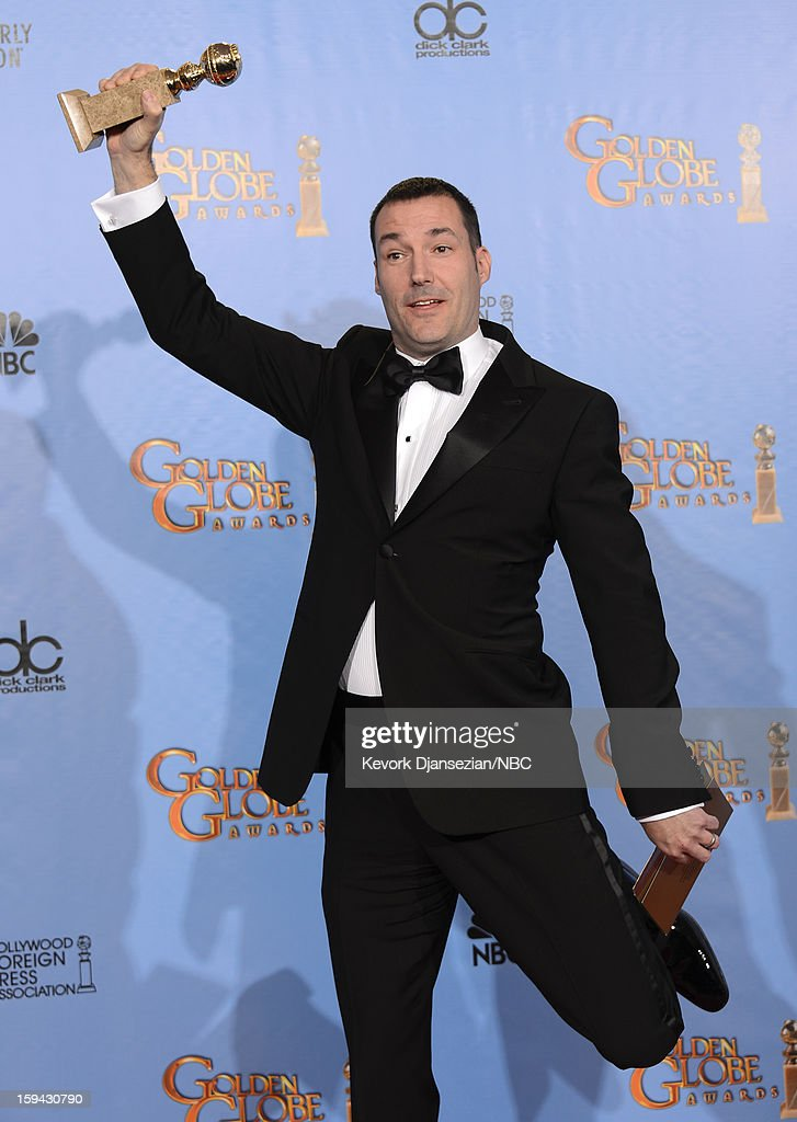 70th ANNUAL GOLDEN GLOBE AWARDS -- Pictured: Director Mark Andrews, winner Best Animated Feature Film for 'Brave', poses in the press room at the 70th Annual Golden Globe Awards held at the Beverly Hilton Hotel on January 13, 2013.