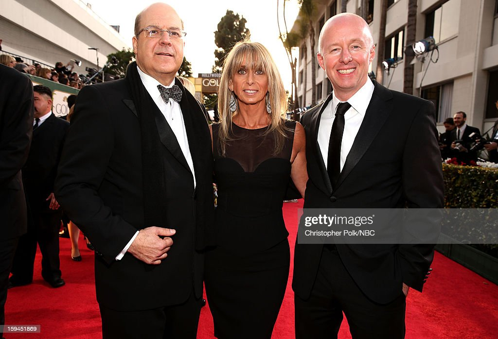 70th ANNUAL GOLDEN GLOBE AWARDS -- Pictured: (l-r) Jeff Wachtel, Co-President, USA Network, Co-Head, Original Content, Universal Cable Productions; Bonnie Hammer, Chairman, NBCU Cable Entertainment & Cable Studios; and Chris McCumber, Co-President, USA Network arrive to the 70th Annual Golden Globe Awards held at the Beverly Hilton Hotel on January 13, 2013.