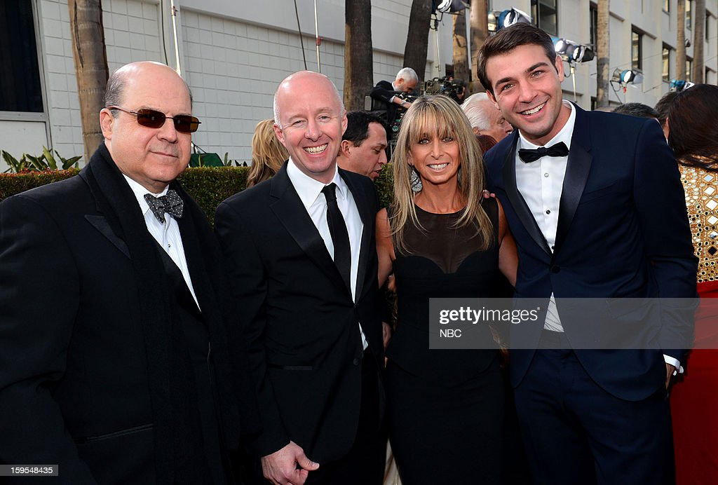 70th ANNUAL GOLDEN GLOBE AWARDS -- Pictured: (l-r) Jeff Wachtel, Co-President, USA Network; Co-Head, Original Content, Universal Cable Productions ; Chris McCumber, Co-President, USA Network; Bonnie Hammer, Chairman, NBCU Cable Entertainment & Cable Studios; James Wolk, actor, 'POLITICAL ANIMALS', arrive at the 70th Annual Golden Globe Awards held at the Beverly Hilton Hotel on January 13, 2013.