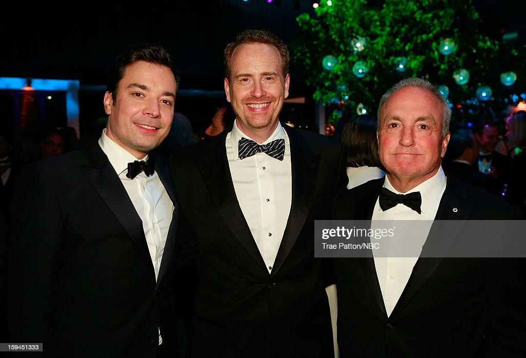 70th ANNUAL GOLDEN GLOBE AWARDS -- Pictured: (l-r) Jimmy Fallon, Bob Greenblatt, Chairman, NBC Entertainment, Lorne Michaels during NBC Universal's Golden Globes Post-Party Sponsored by Fiat and Hilton held at the Beverly Hilton Hotel on January 13, 2013