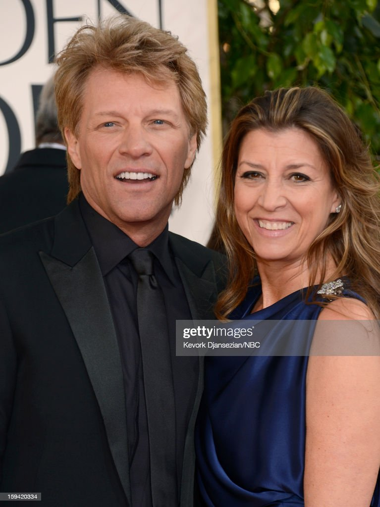 70th ANNUAL GOLDEN GLOBE AWARDS -- Pictured: (L-R) Musician Jon Bon Jovi and his wife Dorothea Hurley arrive to the 70th Annual Golden Globe Awards held at the Beverly Hilton Hotel on January 13, 2013.