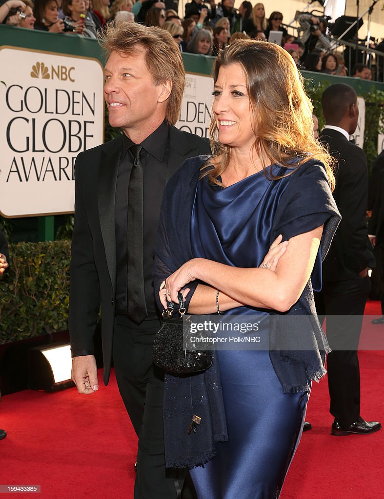 70th ANNUAL GOLDEN GLOBE AWARDS -- Pictured: Musician Jon Bon Jovi and Dorothea Hurley arrive to the 70th Annual Golden Globe Awards held at the Beverly Hilton Hotel on January 13, 2013.