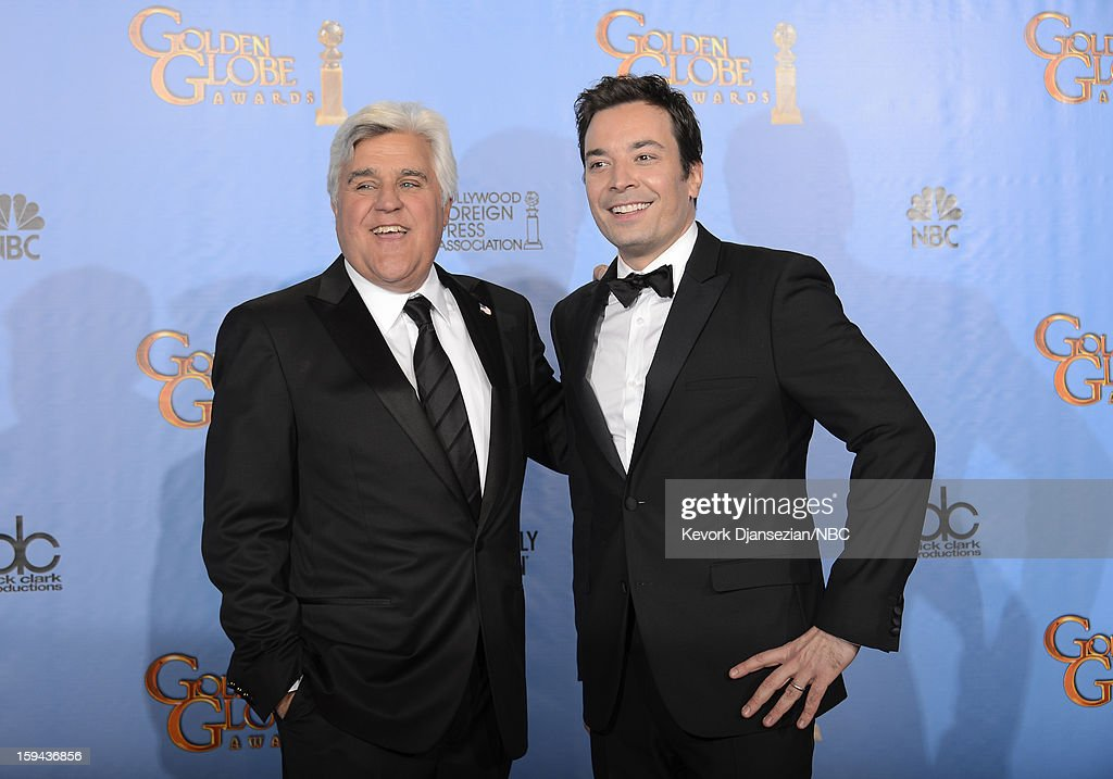 70th ANNUAL GOLDEN GLOBE AWARDS -- Pictured: (L-R) Presenters Jay Leno and <a gi-track='captionPersonalityLinkClicked' href=/galleries/search?phrase=Jimmy+Fallon&family=editorial&specificpeople=171520 ng-click='$event.stopPropagation()'>Jimmy Fallon</a> pose in the press room at the 70th Annual Golden Globe Awards held at the Beverly Hilton Hotel on January 13, 2013.