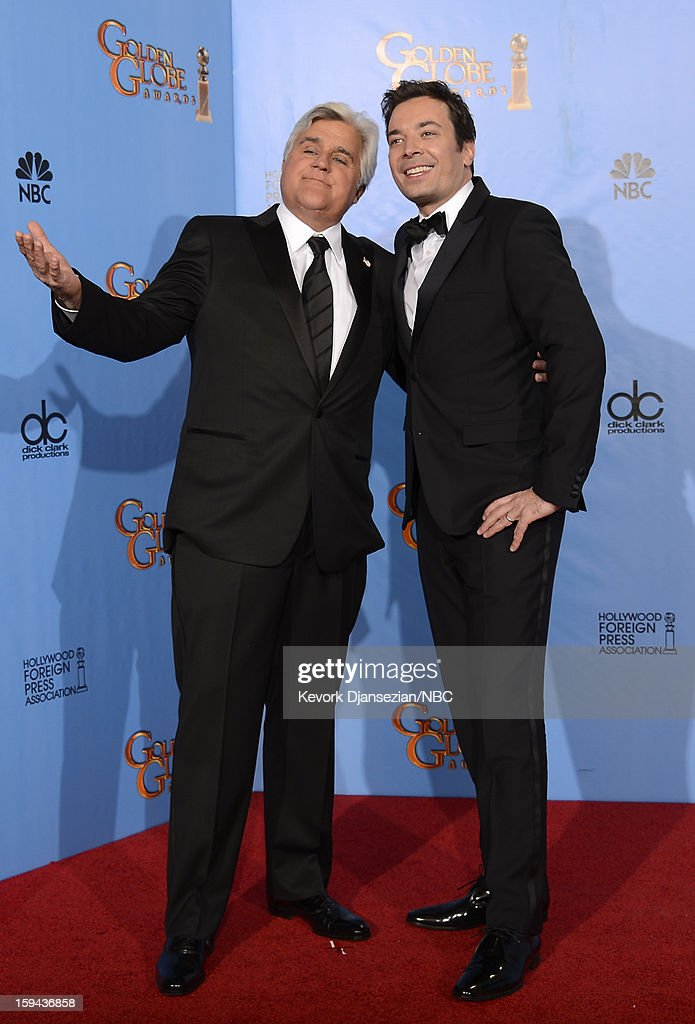 70th ANNUAL GOLDEN GLOBE AWARDS -- Pictured: (L-R) Presenters Jay Leno and Jimmy Fallon pose in the press room at the 70th Annual Golden Globe Awards held at the Beverly Hilton Hotel on January 13, 2013.