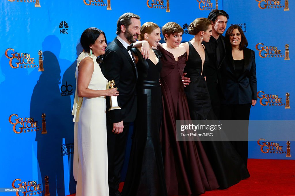 70th ANNUAL GOLDEN GLOBE AWARDS -- Pictured: (L-R) Producers Jennifer Konner and Judd Apatow and actors Zosia Mamet, Lena Dunham, Allison Williams and Adam Driver and producer Ilene Landress pose with the award for Best Series - Comedy or Musical in the press room at the 70th Annual Golden Globe Awards held at the Beverly Hilton Hotel on January 13, 2013.