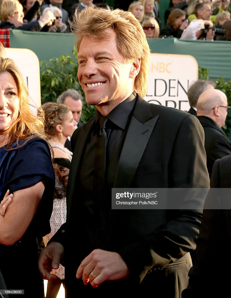70th ANNUAL GOLDEN GLOBE AWARDS -- Pictured: Recording artist and actor Jon Bon Jovi arrives to the 70th Annual Golden Globe Awards held at the Beverly Hilton Hotel on January 13, 2013.