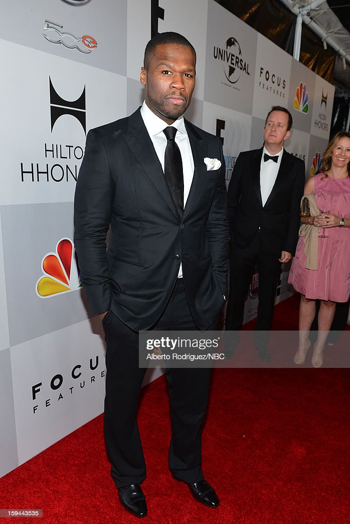 70th ANNUAL GOLDEN GLOBE AWARDS -- Pictured: Recording Artist Curtis 'Fifty Cent' Jackson arrives at NBC Universal's Golden Globes Post-Party Sponsored by Fiat and Hilton held at the Beverly Hilton Hotel on January 13, 2013