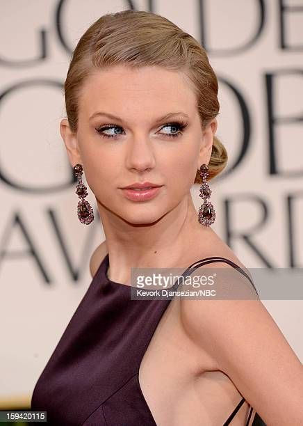 70th ANNUAL GOLDEN GLOBE AWARDS Pictured Singer songwriter Taylor Swift arrives to the 70th Annual Golden Globe Awards held at the Beverly Hilton...