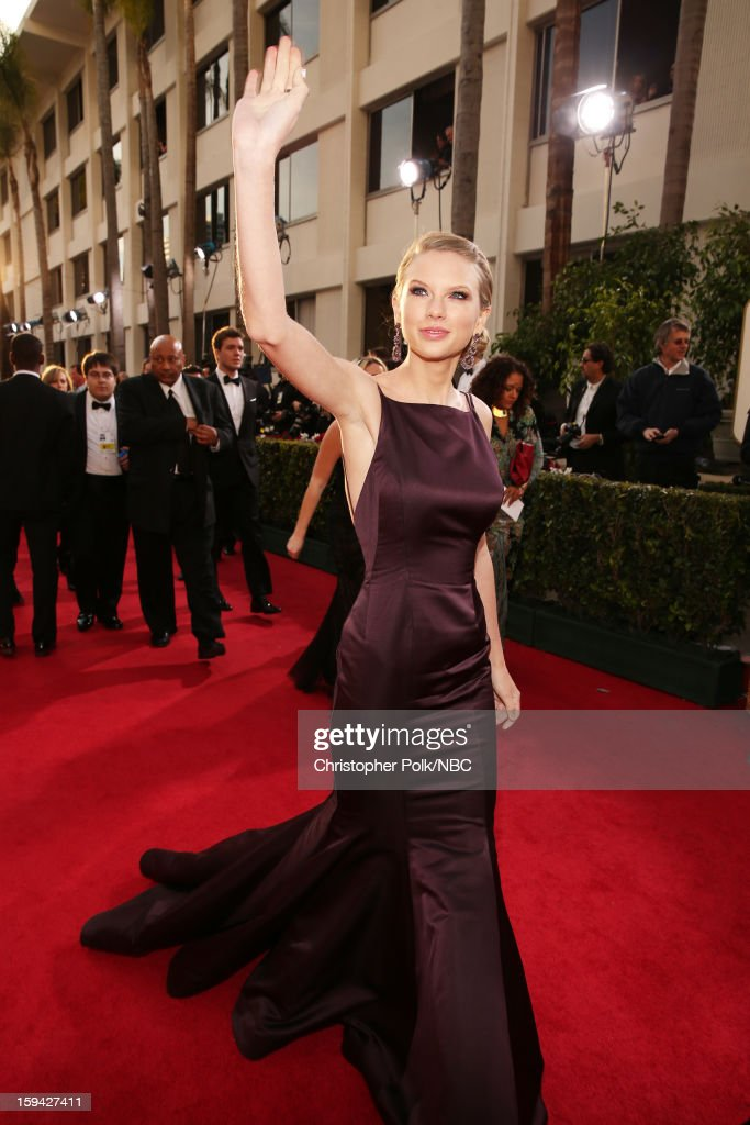 70th ANNUAL GOLDEN GLOBE AWARDS -- Pictured: Singer <a gi-track='captionPersonalityLinkClicked' href=/galleries/search?phrase=Taylor+Swift&family=editorial&specificpeople=619504 ng-click='$event.stopPropagation()'>Taylor Swift</a> arrives to the 70th Annual Golden Globe Awards held at the Beverly Hilton Hotel on January 13, 2013.