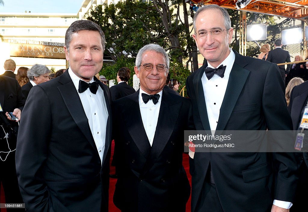 70th ANNUAL GOLDEN GLOBE AWARDS -- Pictured: (l-r) Steve Burke, Chief Executive Officer, NBCUniversal, Ron Meyer, President and Chief Operating Officer, Universal Studios; and Brian Roberts, Chairman and CEO, Comcast arrive to the 70th Annual Golden Globe Awards held at the Beverly Hilton Hotel on January 13, 2013.
