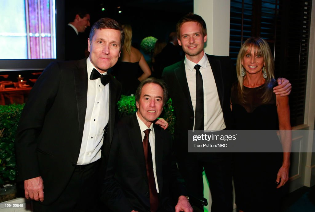 70th ANNUAL GOLDEN GLOBE AWARDS -- Pictured: (l-r) <a gi-track='captionPersonalityLinkClicked' href=/galleries/search?phrase=Steve+Burke&family=editorial&specificpeople=2195360 ng-click='$event.stopPropagation()'>Steve Burke</a>, Chief Executive Officer, NBCUniversal, Universal Vice Chairman & COO Rick Finkelstein, actor <a gi-track='captionPersonalityLinkClicked' href=/galleries/search?phrase=Patrick+J.+Adams&family=editorial&specificpeople=4195512 ng-click='$event.stopPropagation()'>Patrick J. Adams</a> and <a gi-track='captionPersonalityLinkClicked' href=/galleries/search?phrase=Bonnie+Hammer&family=editorial&specificpeople=223874 ng-click='$event.stopPropagation()'>Bonnie Hammer</a>, Chairman, NBCU Cable Entertainment & Cable Studios during NBC Universal's Golden Globes Post-Party Sponsored by Fiat and Hilton held at the Beverly Hilton Hotel on January 13, 2013
