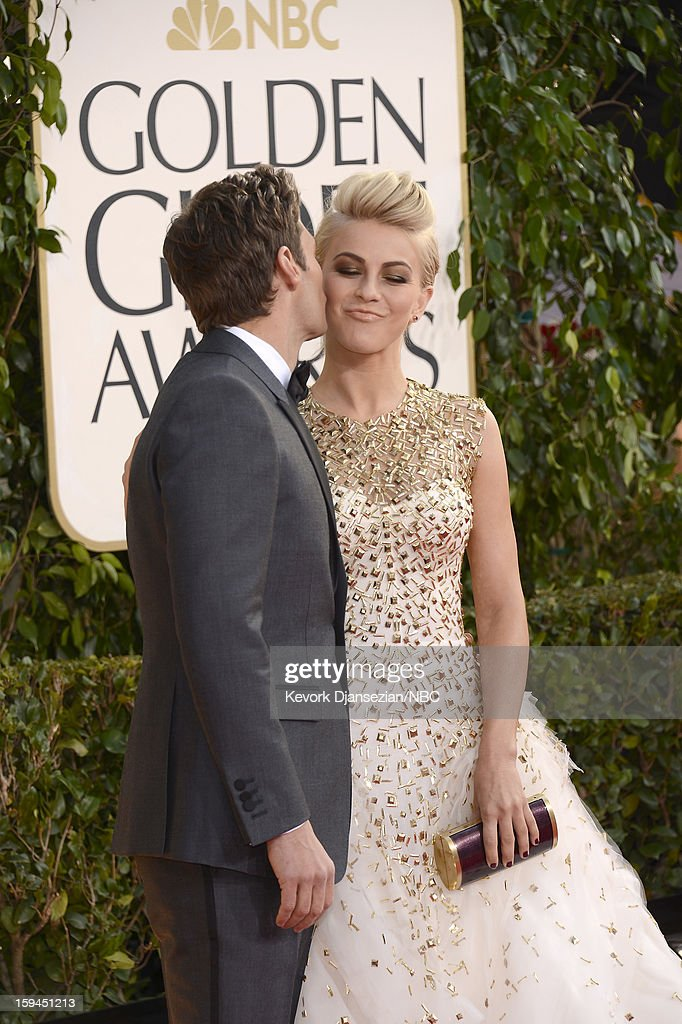 70th ANNUAL GOLDEN GLOBE AWARDS -- Pictured: (L-R) TV personality Ryan Seacrest and Julianne Hough arrive to the 70th Annual Golden Globe Awards held at the Beverly Hilton Hotel on January 13, 2013.